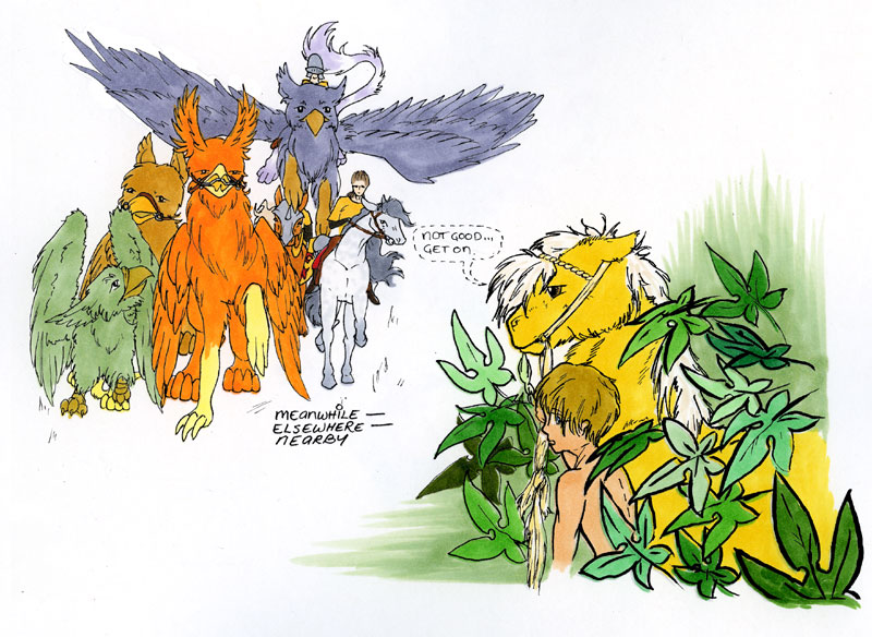 A group of gryphon-riders, and a boy and his pony hiding in the bushes