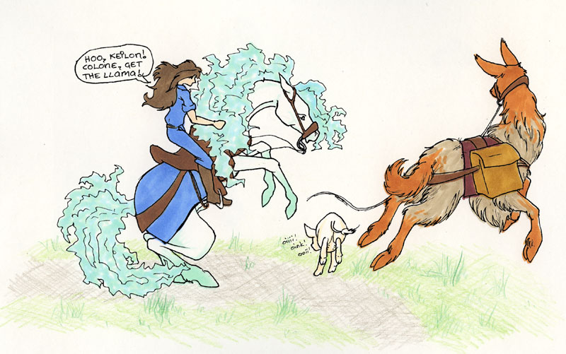 Keilon is startled and Sah's llama pulls free when the Sow runs past them.